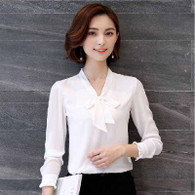 White butterfly neck tie long sleeve pull over shirt 01