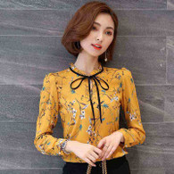 Yellow floral pattern long sleeve pull over shirt 01
