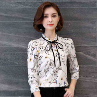 White floral pattern long sleeve pull over shirt 01
