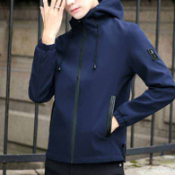 Navy label pattern long sleeve zip jacket hoodies 01
