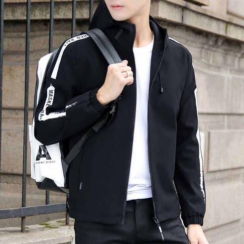 Black pattern text long sleeve zip jacket hoodies 01