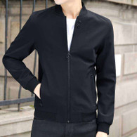 Black plain long sleeve zip jacket 01