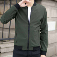 Army green plain long sleeve zip jacket 01