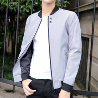 Grey plain long sleeve zip jacket 01
