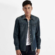 Navy plain long sleeve button denim jacket 01