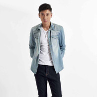 Skyblue plain long sleeve button denim jacket 01
