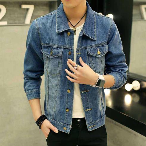 Blue long sleeve denim button jacket 01