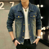 Retro blue long sleeve denim button jacket 01