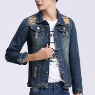 Blue ripped detail button denim jacket 01