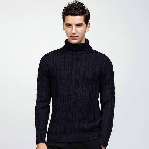 Black knit pattern high neck long sleeve sweater 01