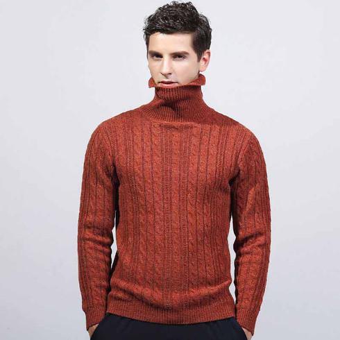 Orange knit pattern high neck long sleeve sweater 01