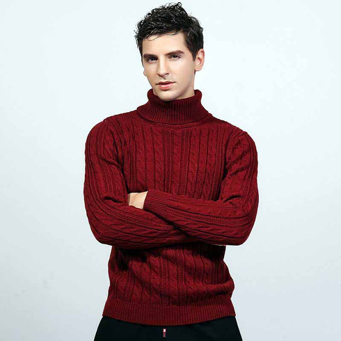 Red Knit Pattern High Neck Long Sleeve Sweater Mens Sweaters