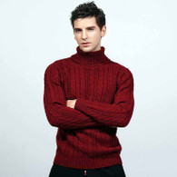 Red knit pattern high neck long sleeve sweater 01