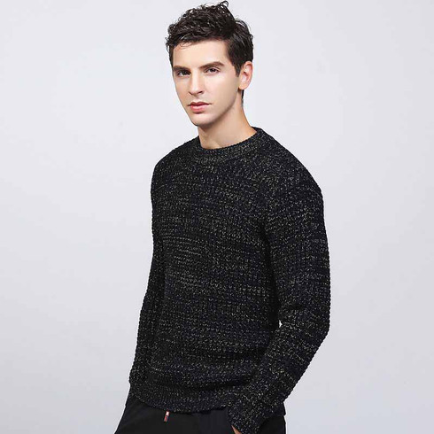 Black check round neck long sleeve sweater 01