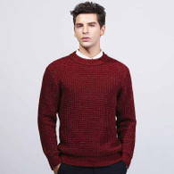 Red check round neck long sleeve sweater 01