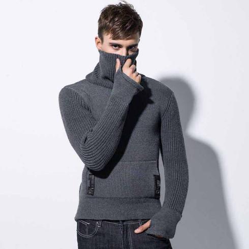 Grey knit stripe high neck long sleeve sweater 01