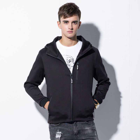 Black plain zip long sleeve hoodie jacket 01