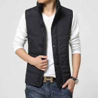 Black padded button zip vest jacket 01