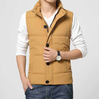 Yellow padded button zip vest jacket 01