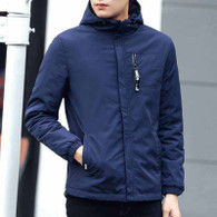Navy zip hoodie jacket with chest pocket 01