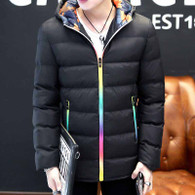 Black stripe block rainbow padded zip hoodie jacket 01