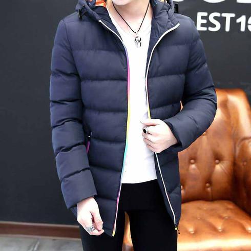 Navy stripe block rainbow padded zip hoodie jacket 01