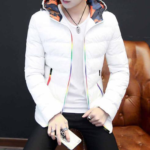 White stripe block rainbow padded zip hoodie jacket 01