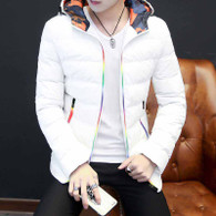 White stripe block rainbow padded zip hoodie jacket 01