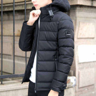 Black stripe block padded zip hoodie jacket 1277 01