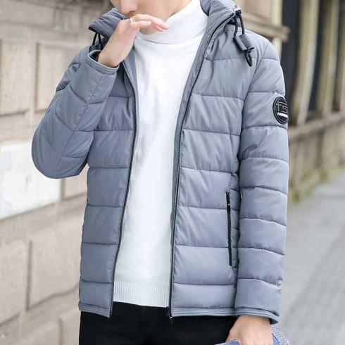 Grey stripe block padded zip hoodie jacket 1277 01