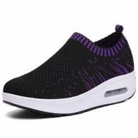 Black flyknit slip on rocker bottom shoe sneaker 01