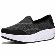 Black weave slip on rocker bottom shoe sneaker 01