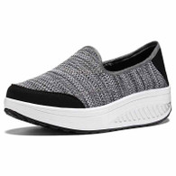 Grey weave slip on rocker bottom shoe sneaker 01
