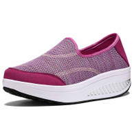 Peach red weave slip on rocker bottom shoe sneaker 01