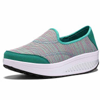 Green weave slip on rocker bottom shoe sneaker 01