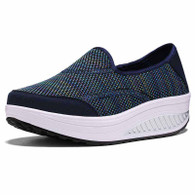 Navy weave slip on rocker bottom shoe sneaker 01