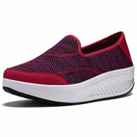 Red weave slip on rocker bottom shoe sneaker 01