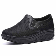 Black plain slip on rocker bottom shoe sneaker 01