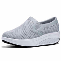 Grey plain slip on rocker bottom shoe sneaker 01