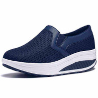 Navy plain slip on rocker bottom shoe sneaker 01