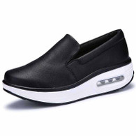 Black plain slip on rocker bottom shoe sneaker 1828 01