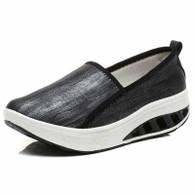 Black plain slip on rocker bottom shoe sneaker 1829 01