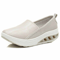 Beige plain slip on rocker bottom shoe sneaker 1829 01