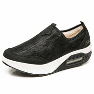 Black slip on winter rocker bottom shoe sneaker 01