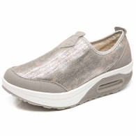 Grey slip on winter rocker bottom shoe sneaker 01