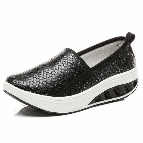 Black snake skin pattern rocker bottom shoe sneaker 01