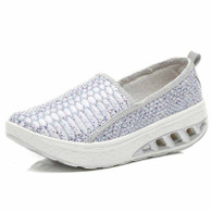 Silver snake skin pattern rocker bottom shoe sneaker 01