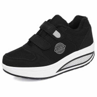 Black double velcro winter rocker bottom shoe sneaker 01
