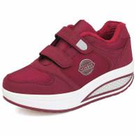 Red double velcro winter rocker bottom shoe sneaker 01