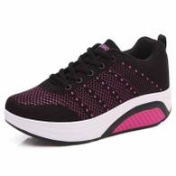 Black flyknit hollow out rocker bottom shoe sneaker 01